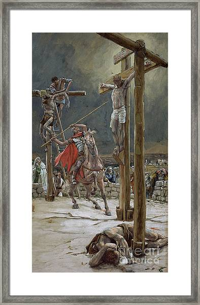 One Of The Soldiers With A Spear Pierced His Side Framed Print