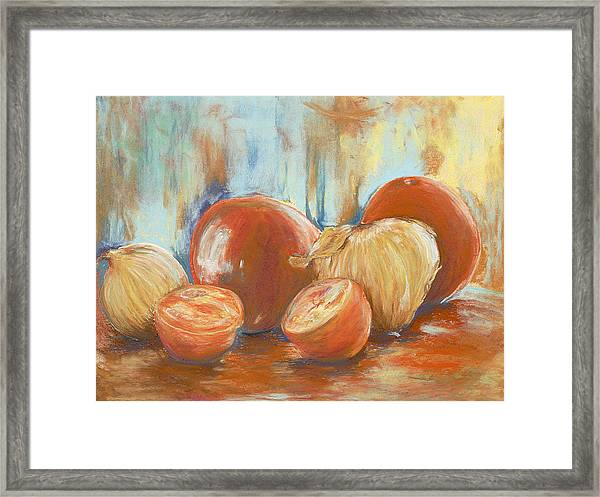 Onions And Tomatoes Framed Print