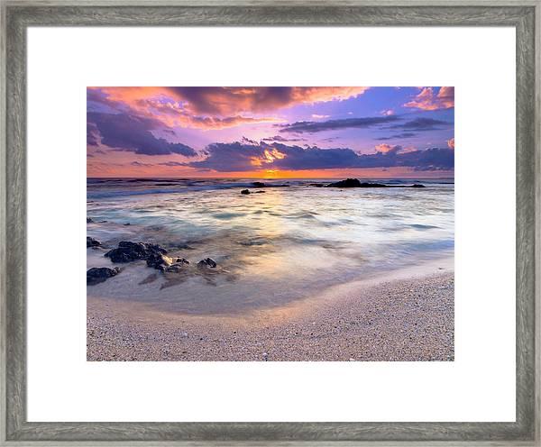O'oma Beach Sunset Framed Print