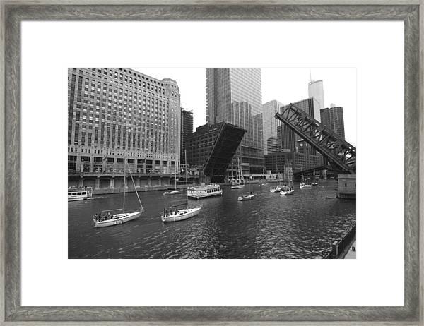 Open Bridges In Chicago Framed Print