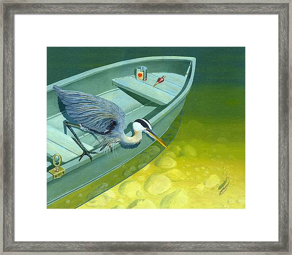 Opportunity-the Great Blue Heron Framed Print