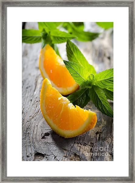 Orange And Mint Framed Print