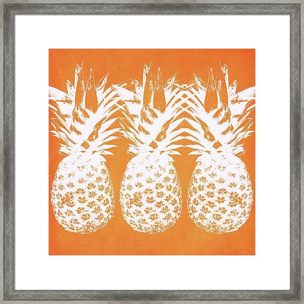Orange And White Pineapples- Art By Linda Woods Framed Print