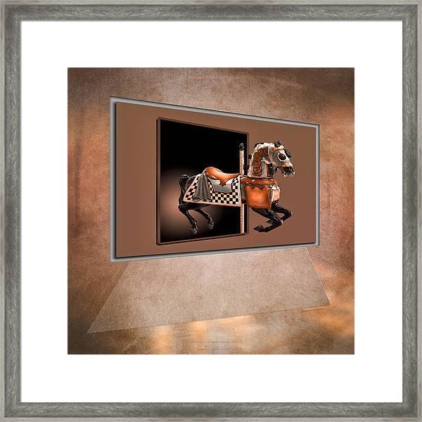 Orange Carousel Horse Left Panel 02 Textured Framed Print