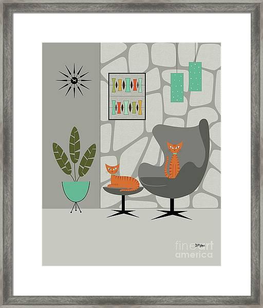 Orange Cat In Gray Stone Wall Framed Print
