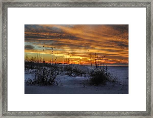 Orange Clouded Sunrise Over The Pier Framed Print