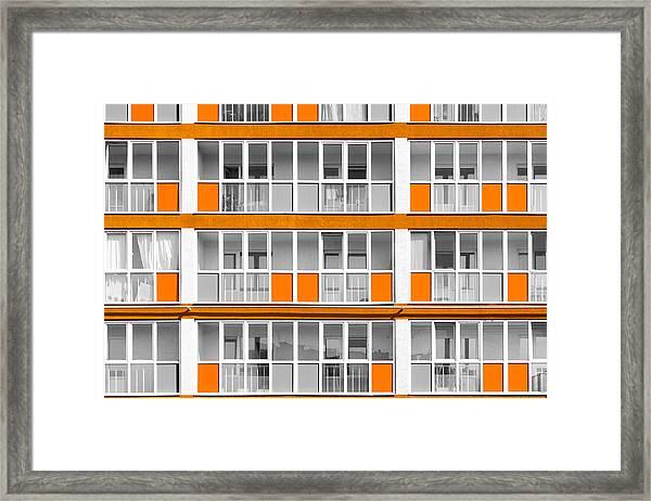 Orange Exterior Decoration Details Of Modern Flats Framed Print