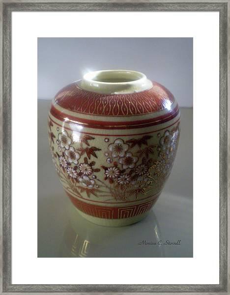 Orange Flowered Vase Framed Print