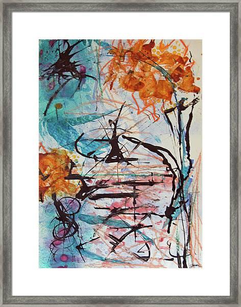 Orange Flowers In Vase Framed Print
