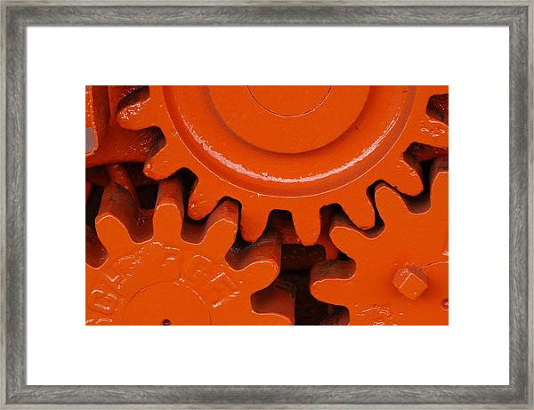 Orange Gear 2 Framed Print