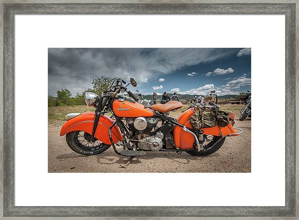 Framed Print featuring the photograph Orange Indian Motorcycle by Britt Runyon