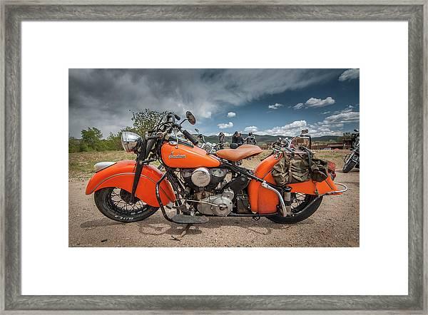 Orange Indian Motorcycle Framed Print