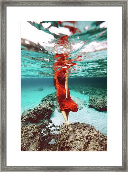 Orange Mermaid Framed Print