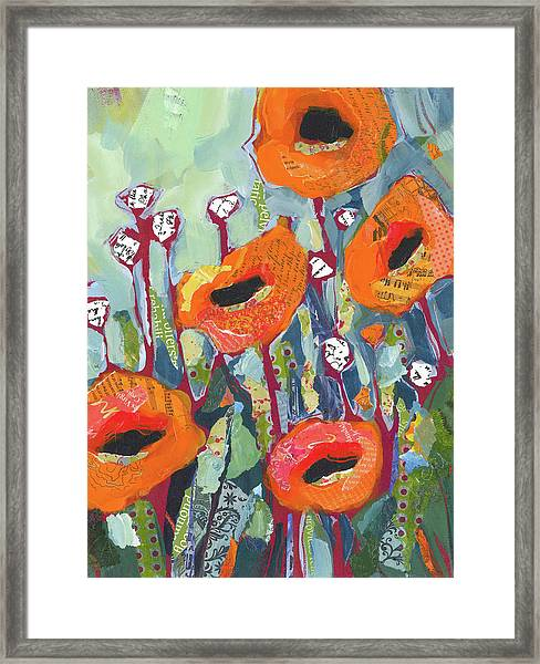 Framed Print featuring the painting Orange Poppies by Shelli Walters