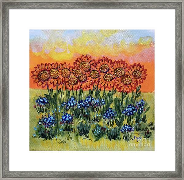 Orange Sunset Flowers Framed Print