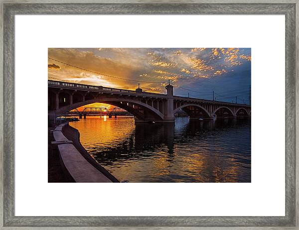 Orange Sunset Over Tempe Town Lake Framed Print