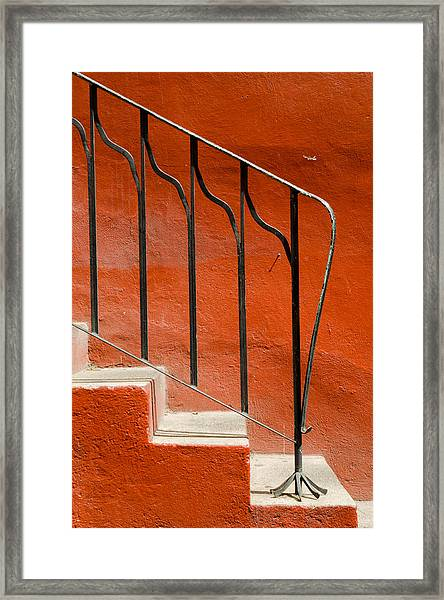 Orange Wall And Steps. Framed Print