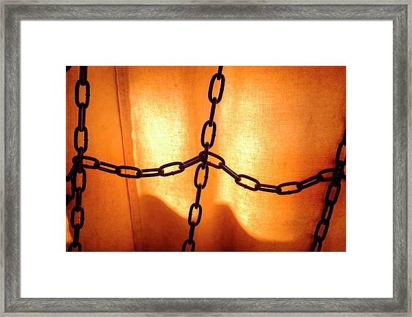 Orange With Black Chains In Seattle Washington Framed Print