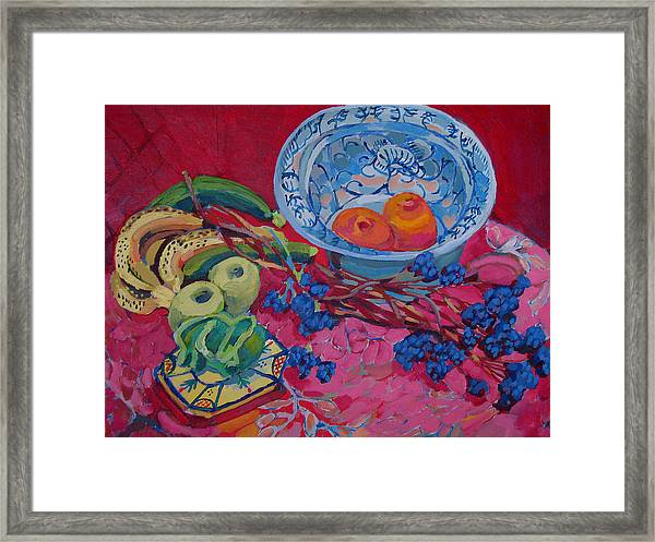 Oranges And Chinese Bowl Framed Print by Doris  Lane Grey