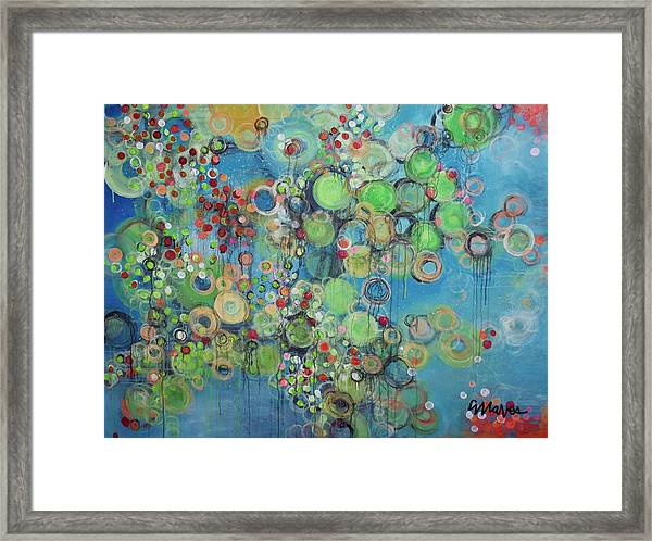 Framed Print featuring the painting Orangetheory Brighter Than The Sun by Laurie Maves ART