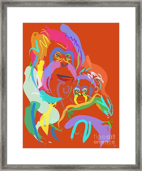 Orangutan Mom And Baby Framed Print