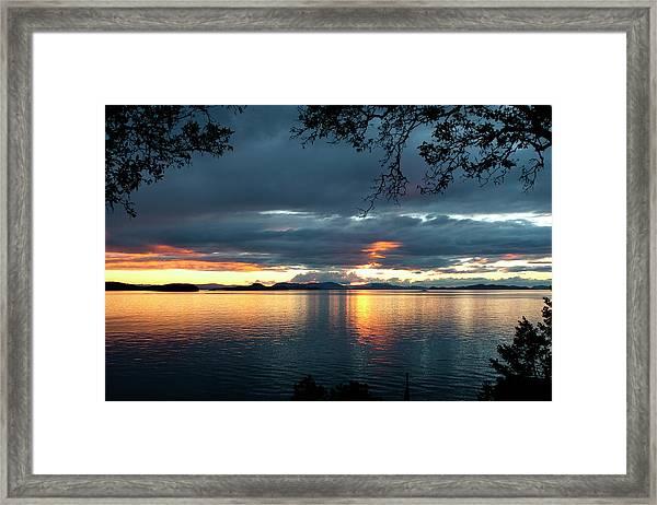 Framed Print featuring the photograph Orcas Island Sunset by Lorraine Devon Wilke