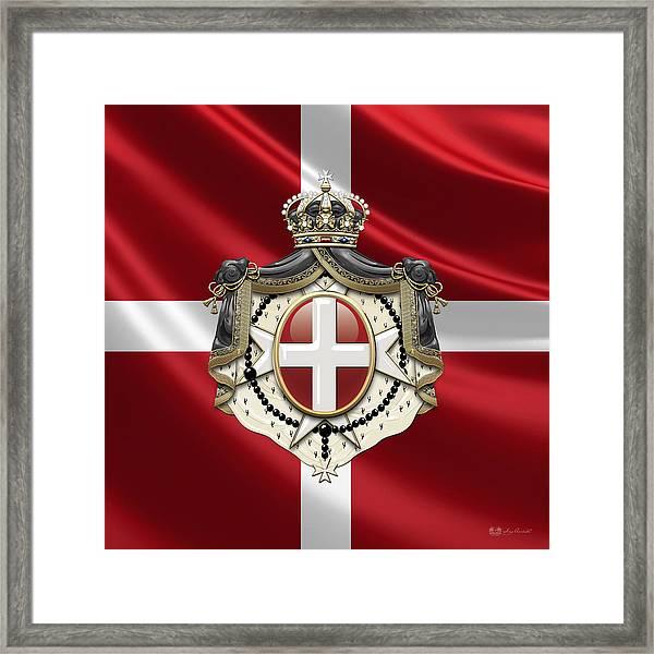 Order Of Malta Coat Of Arms Over Flag Framed Print