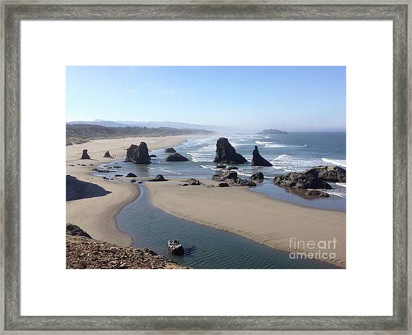 Framed Print featuring the photograph Oregon Coast Sea Stacks by Barbara Von Pagel