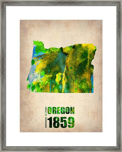 Oregon Watercolor Map Framed Print