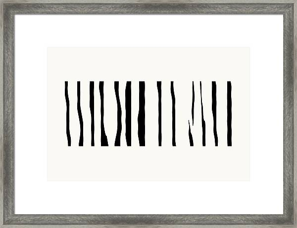Organic No 12 Black And White Line Abstract Framed Print