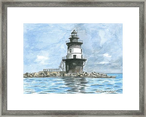 Framed Print featuring the painting Orient Point Lighthouse by Dominic White