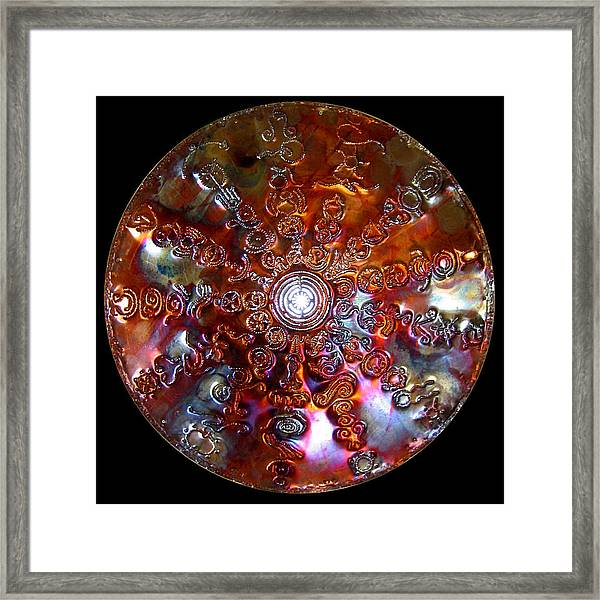 Framed Print featuring the digital art Original Copper Lightmandala Antares Radial Matrix by Robert Thalmeier