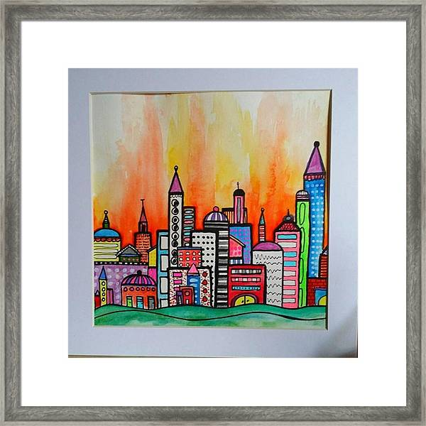 Original #watercolor ..fire In The Framed Print