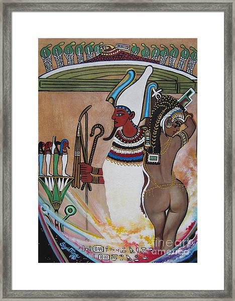 Blaa Kattproduksjoner         Osiris With Goddess Isis And 4 Grandkids Framed Print