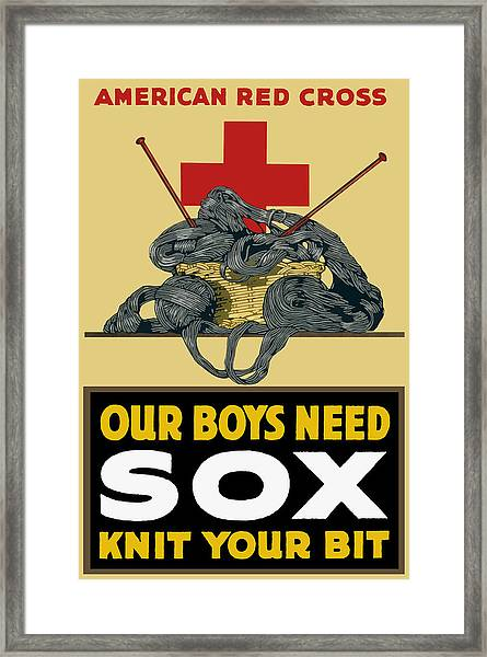 Our Boys Need Sox - Knit Your Bit Framed Print
