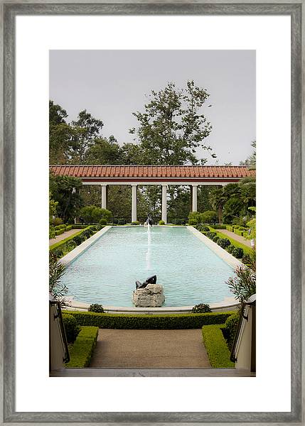 Outer Peristyle Pool And Fountain Getty Villa Framed Print