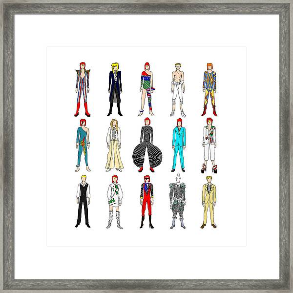 Outfits Of Bowie Framed Print
