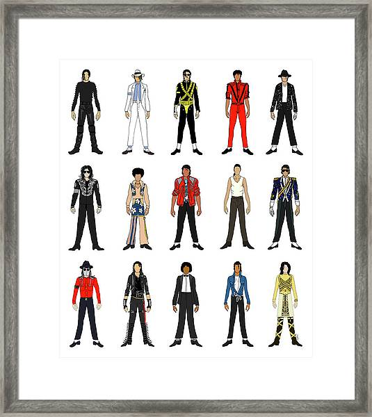 Outfits Of Michael Jackson Framed Print