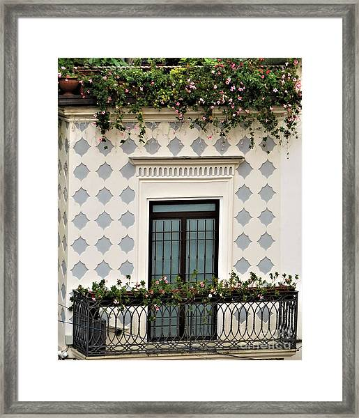 Overlooking The Piazza Framed Print