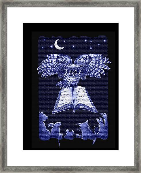 Owl And Friends Indigo Blue Framed Print