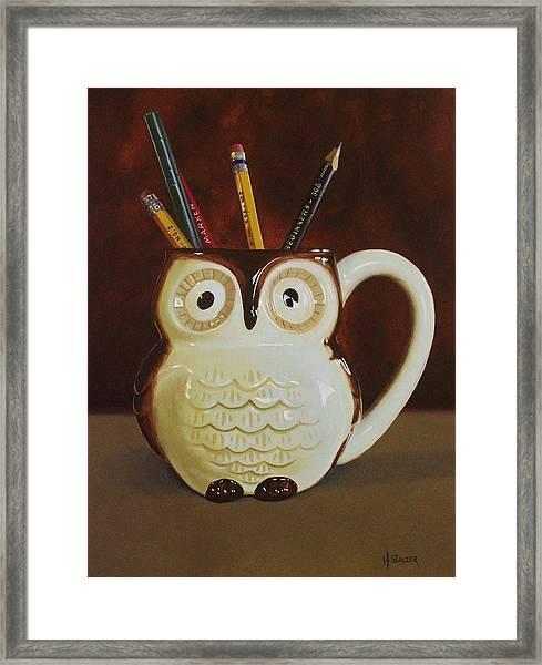 Owl Cup Framed Print