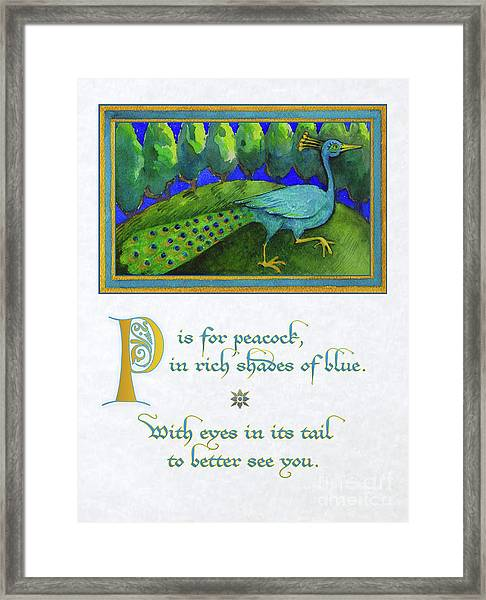 P Is For Peacock Framed Print