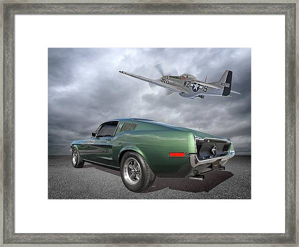 P51 With Bullitt Mustang Framed Print