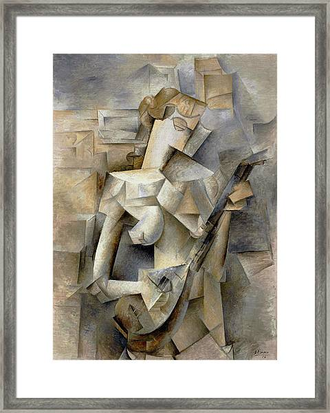 Pablo Picasso Girl With A Mandolin 1910 Framed Print