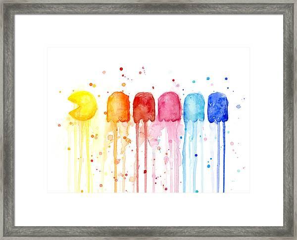 Pacman Watercolor Rainbow Framed Print