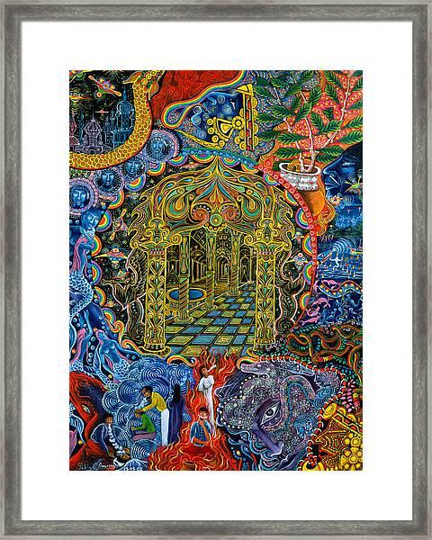 Framed Print featuring the painting Pagoda Dorada by Pablo Amaringo