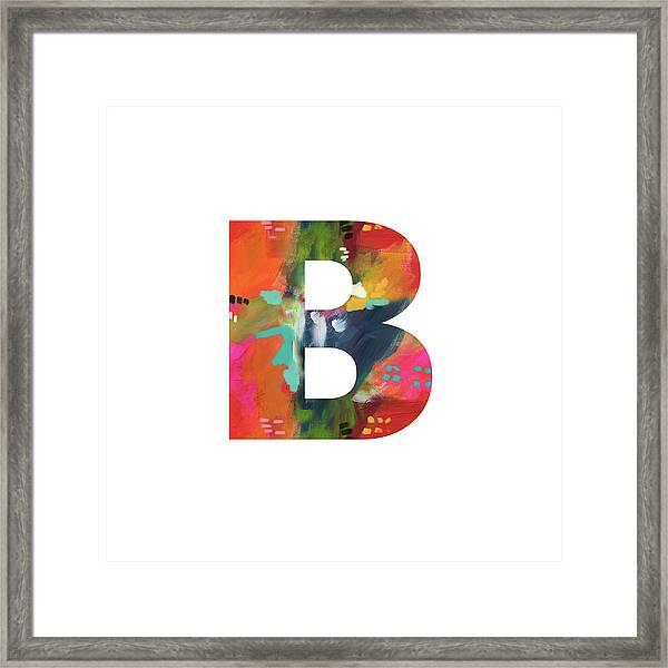 Painted Letter B-monogram Art By Linda Woods Framed Print