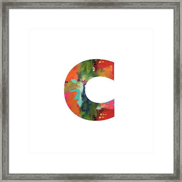 Painted Letter C-monogram Art By Linda Woods Framed Print