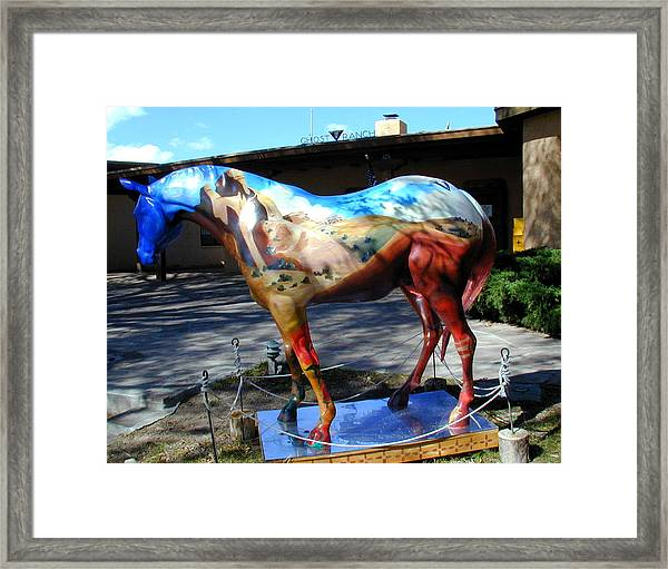 Framed Print featuring the photograph Painted Pony At Ghost Ranch by Joseph R Luciano