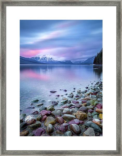 Painted Skies Over Stanton Peak // Lake Mcdonald, Glacier National Park Framed Print